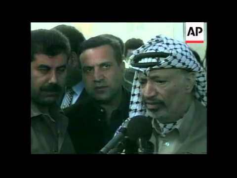 WEST BANK: PALESTINIAN LEADER YASSER ARAFAT PRESS CONFERENCE