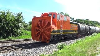 Rotary Snowplow On The End Of Bnsf Local Freight Train