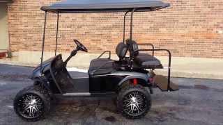 lifted black gas ezgo golf cart 14 rims new black body custom seats ext top more