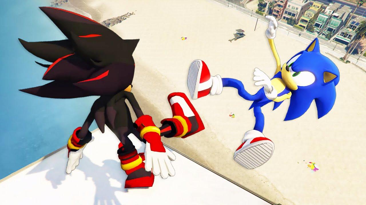 Sonic & Shadow in GTA 5: Crazy RAGDOLLS [Sonic the Hedgehog] - Episode 20
