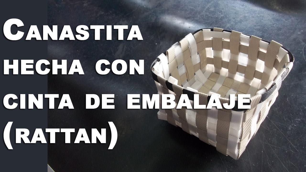 Canastita hecha de cinta de embalaje (Rattan) - YouTube