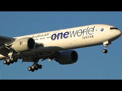 HD 'OneWorld' Livery - Qatar Airways Boeing 777-300ER - Landing at Melbourne Airport [A7-BAG]