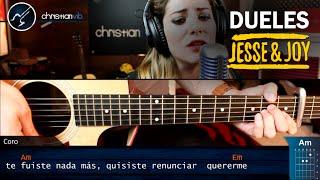 Como tocar DUELES  Jesse & Joy en Guitarra Acustica | Tutorial COMPLETO