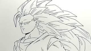 cara menggambar songoku saiya3 dragonball / how to draw goku saiya 3