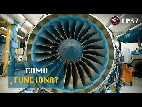 """Como Funciona uma """"Turbina"""" de Avião? Motor a Reação Chamado de Turbofan."""
