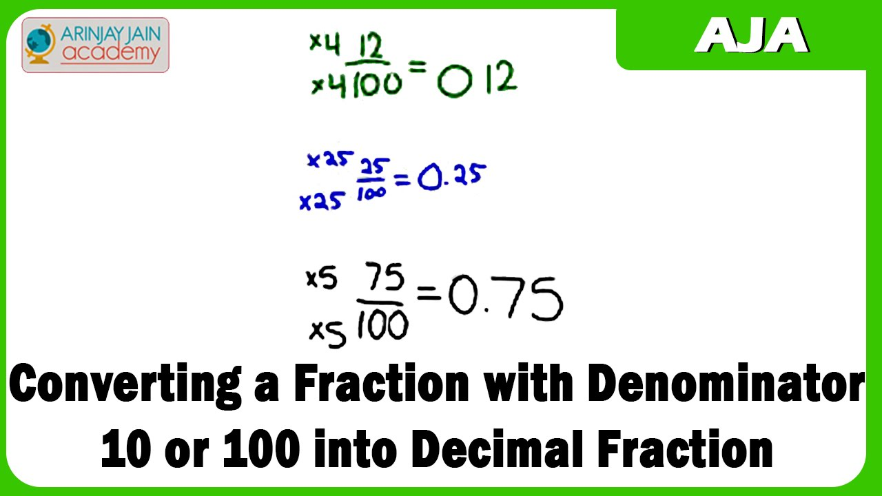converting a fraction with denominator 10 or 100 into decimal