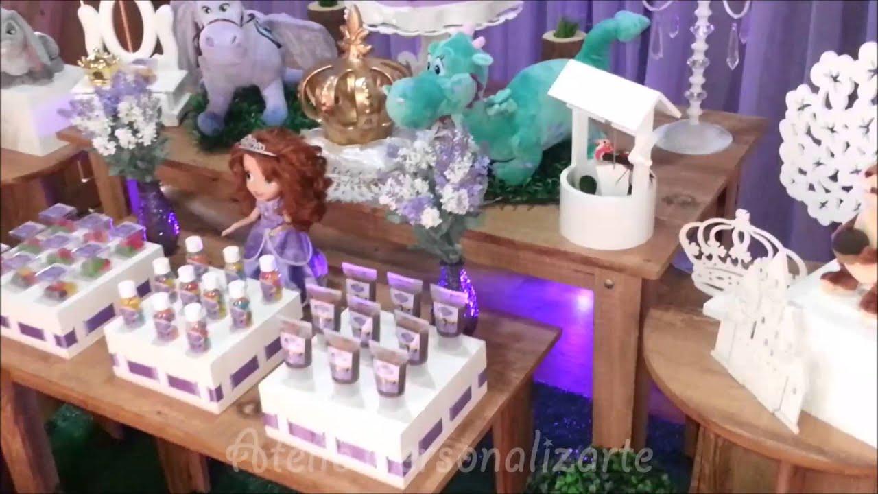 Decoração Youtube ~ Decoraç u00e3o de festa infantil Princesa Sofia YouTube