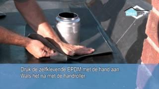 Dakenshop EPDM dakbedekking ontluchting / doorvoer inplakken met zelfklevende EPDM