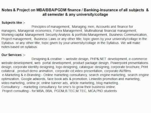 Project On Finance For Mba