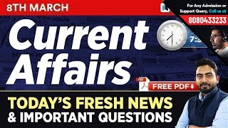 #258 : 8 March 2019 Current Affairs in Hindi   Current Affairs 2019 Questions + Static GK Tricks