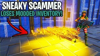 Sneaky Scammer Loses Whole Modded Inventory! (Scammer Gets Scammed) Fortnite Save The World