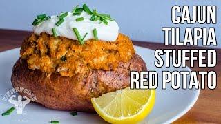 Cajun Tilapia Stuffed Red Potato / Papa Rellena Del Cajún Con Tilapia