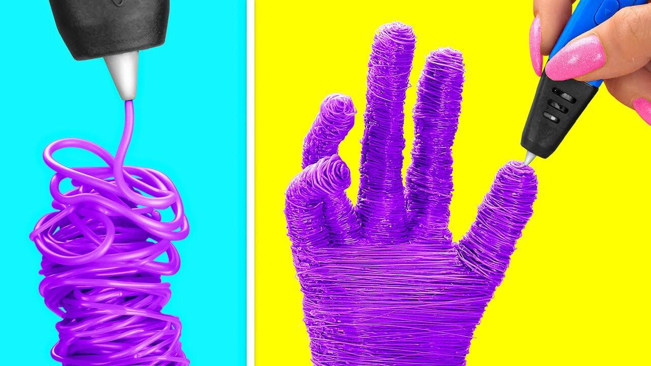 वाओ! स्मार्ट लोगों के लिए बेहतरीन 3D पेन हैक्स || 123 GO! के कूल हैक्स और DIY