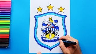 How to draw and color Huddersfield Town F.C. Logo - English Premier League Series