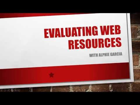 Evaluating Web Resources - ENG 200