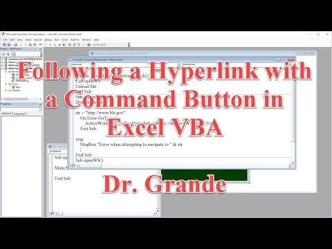 Follow A Hyperlink With A Command Button Using Excel Vba Youtube