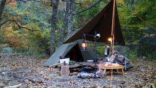 色づく高原でソロキャンプ【ダブルポンチョ連結】Solo camping