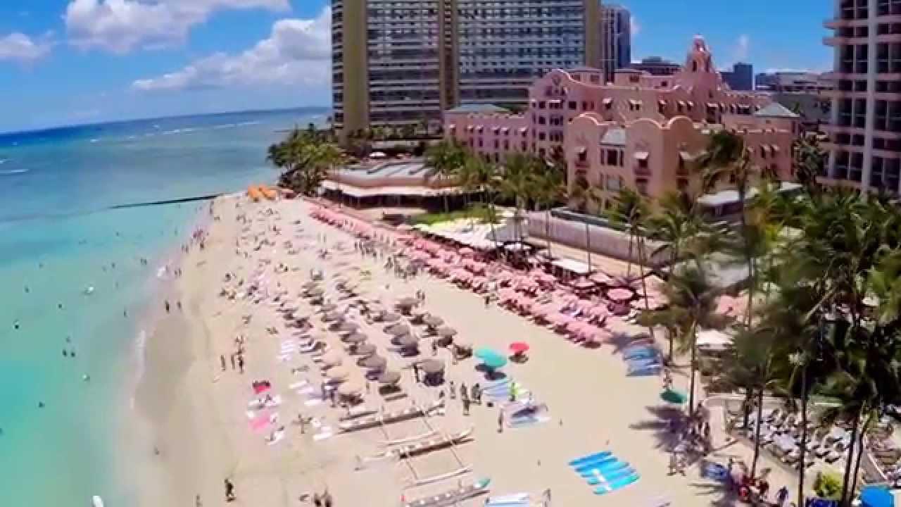 Waikiki Beach Honolulu Hawaii Aerial Views July 2017