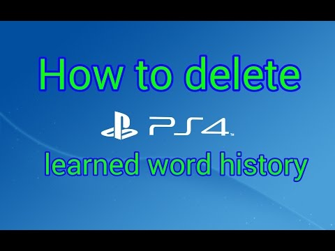 How To Clear Save Words History On PS4