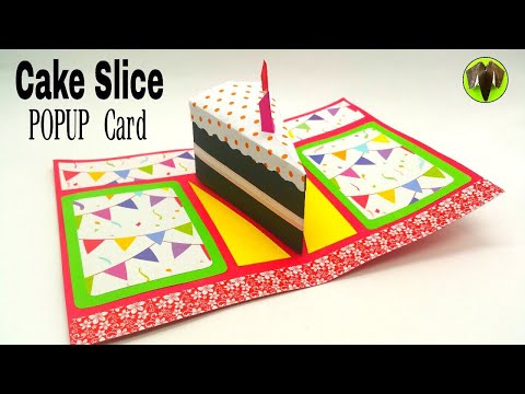 Cake Slice Popup Card (Unique Design) - Birthday Theme - DIY | Tutorial by Paper Folds - 800