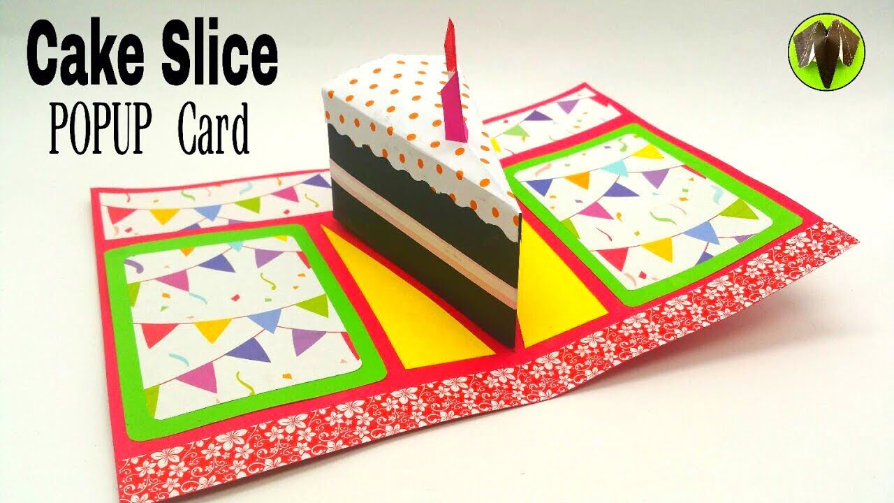 Cake Slice Popup Card Birthday Theme DIY Tutorial by Paper