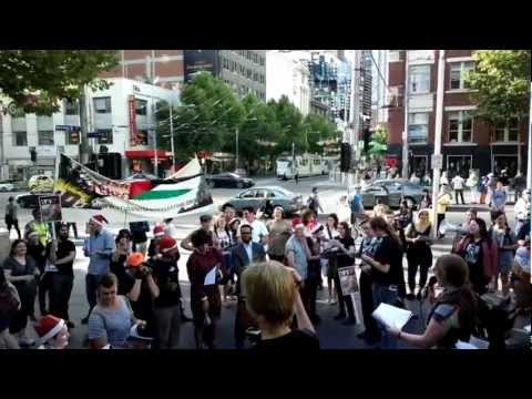 'Don't Buy Israeli Apartheid for Christmas' - Students for Palestine carol @ State Library