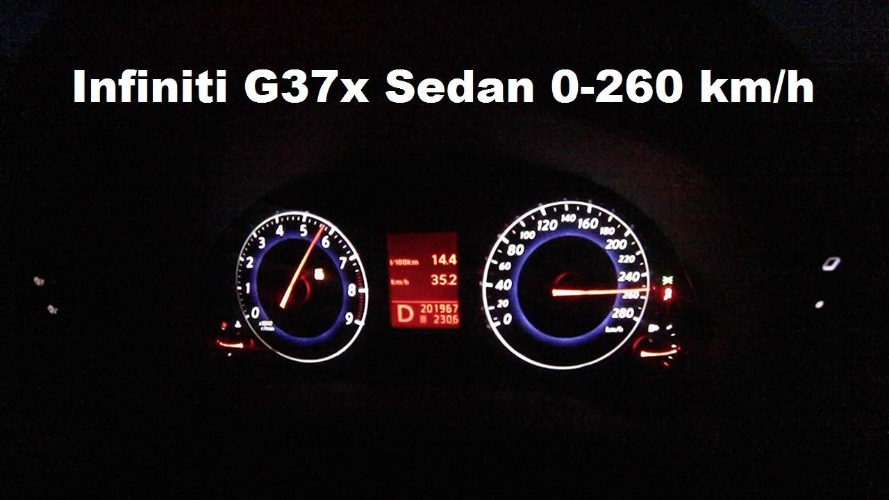 Infiniti G37 0-200 kph acceleration VQ37VHR - YouTube