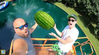 DONT DROP the Watermelon from 45FT onto the Mystery Pond Monster!!