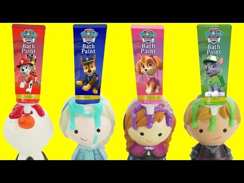 Learn COLORS with Paw Patrol Disney Frozen Bath Paint FULL Set Bathtime Orbeez, Elsa, Anna Toddlers