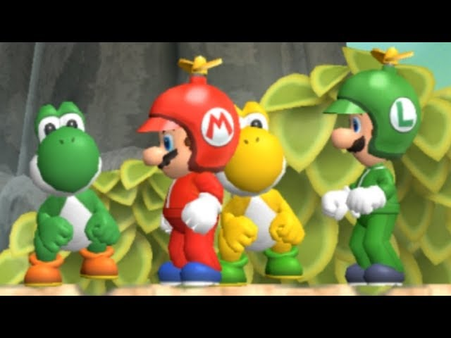 New Super Mario Bros Wii - All Yoshi Levels (2 Players)