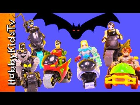 Imaginext GANG Bikers Vs BATMAN Robin Cat Woman Race for Bat Cave HobbyKidsTV