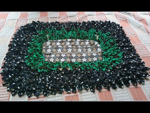 how to make a beautiful doormat from waste cloths like sari DIY