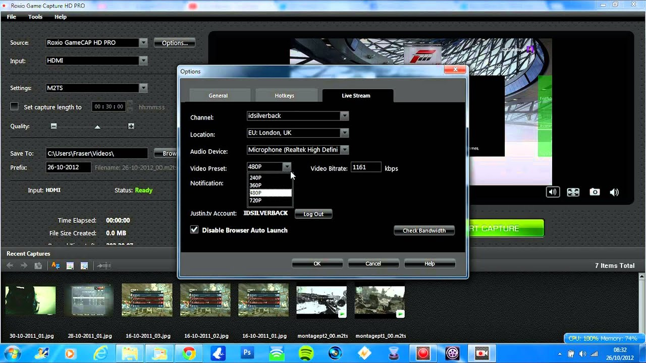 Roxio HD Pro Settings for Live Streaming and Capture