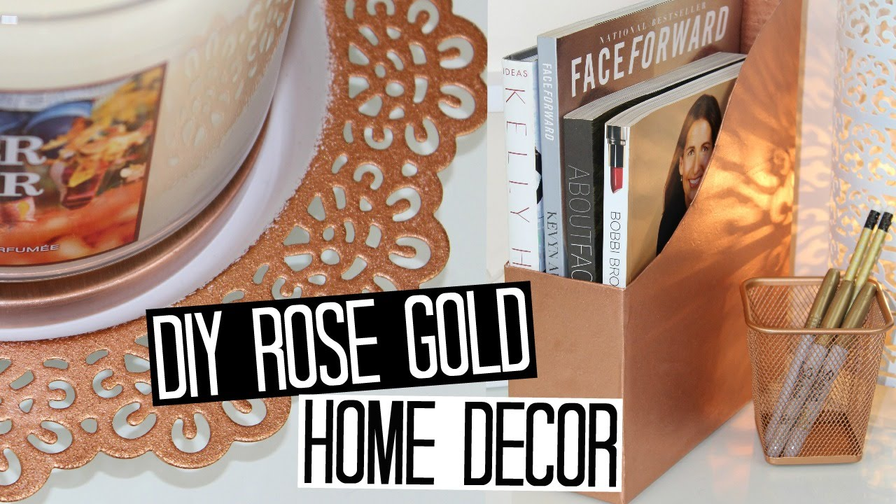 Diy copper rose gold decor ideas youtube for Decoration maison rose gold