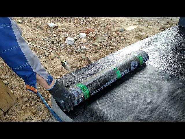 Гидроизоляция фундаментной плиты в фахверковом доме наплавляемой мембраной