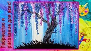 как легко нарисовать цветущее дерево ватными палочками
