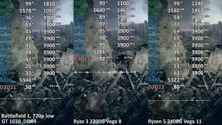 GT 1030 DDR4 vs. Ryzen 5 2400G Vega 11 vs. Ryzen 3 2200G Vega 8