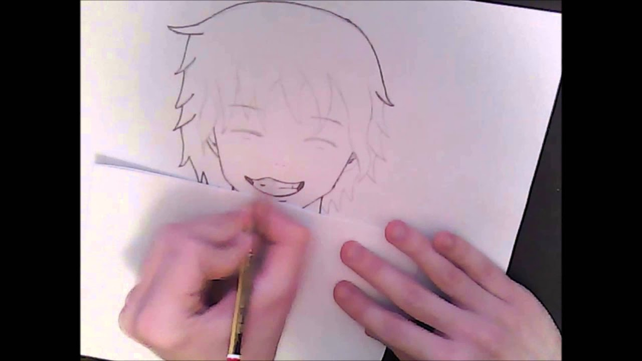 Drawing Smiling Anime Guy