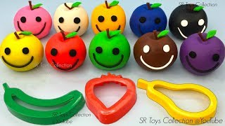 Learn Colors with Play Doh Apples Smiley Face with Fruits & Vegetables Cookie Cutters