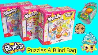 Shopkins 100 Piece Puzzles Combo Pack Set & Season 3 Blind Bag Basket Unboxing Toy Video