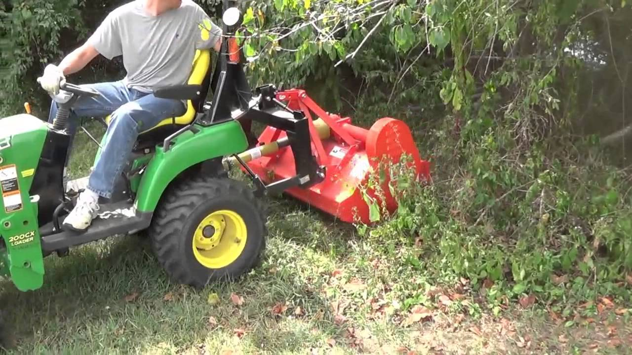 Hedge Row Clean Out With Flail Mower and Subcompact Tractor 2