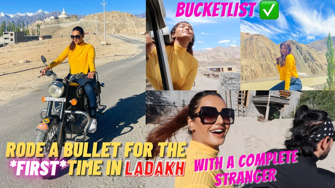 I rode A BULLET BIKE for the FIRST TIME in Ladakh with A STRANGER! Dream come true! #TravelWSar