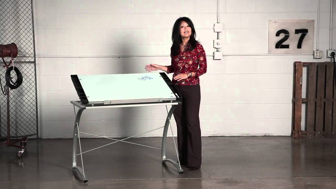 Safco Xpressions™ Glass Top Drafting Table   YouTube
