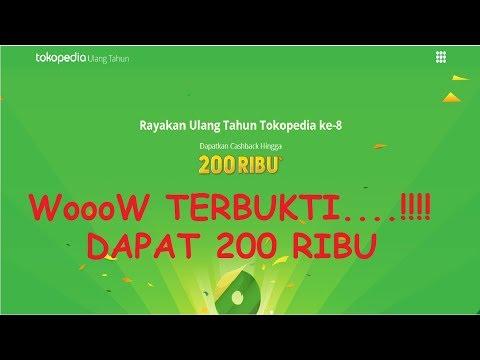 TERBUKTI....!!!! DAPAT CASHBACK  200 RIBU DARI TOKOPEDIA