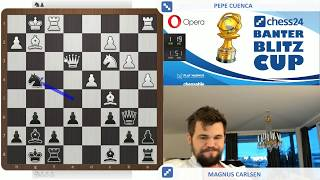 World Chess Champion Magnus Carlsen vs. GM Pepe Cuenca in the Banter Blitz Cup