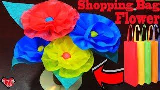 How to Make Shopping Bag Flower Sticks || DIY Newspaper Flower Sticks || Waste Recycling Ideas