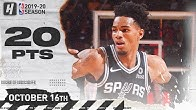 Dejounte Murray Full Highlights Spurs vs Rockets (2019.10.16) - 20 Points in 3 Qtrs!
