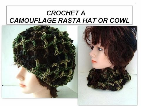 Crochet Pattern Camoflage Rasta Hat One Size Fits Most Youtube
