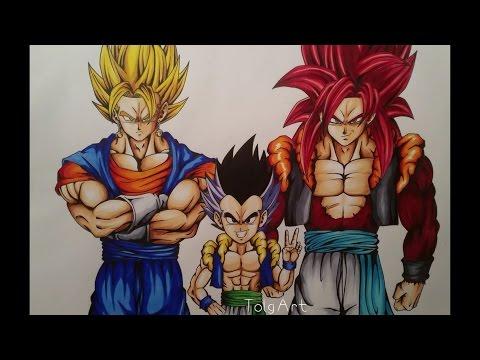Drawing Super Vegito, Gotenks & Gogeta SSJ4