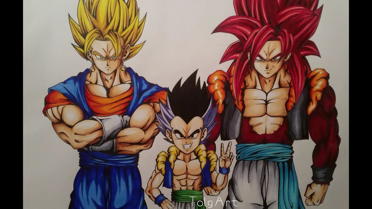 Drawing Super Vegito, Gotenks & Gogeta SSJ4 - YouTube